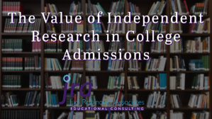 the value of research in college admissions