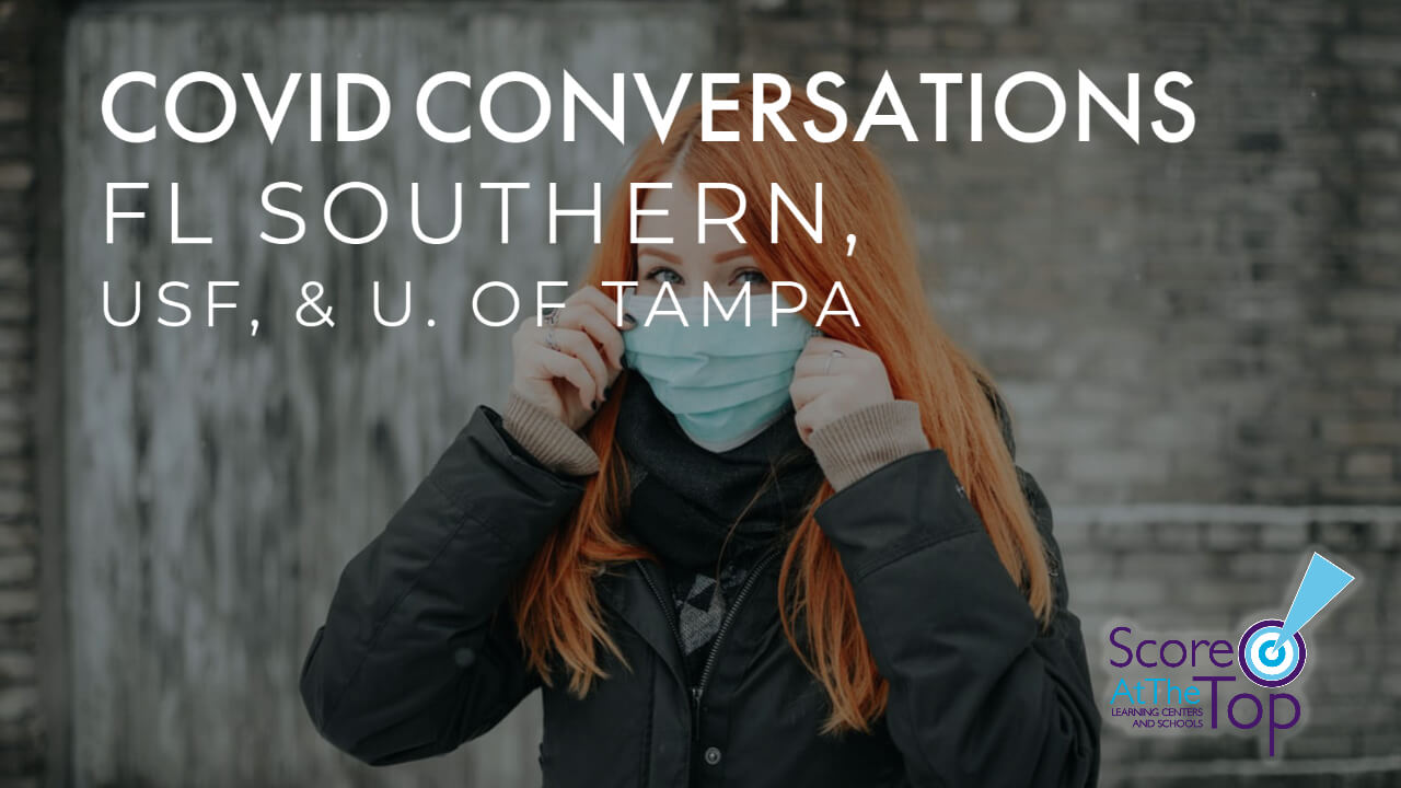 covid-19 admissions info for FL Southern, University of Tampa, & USF