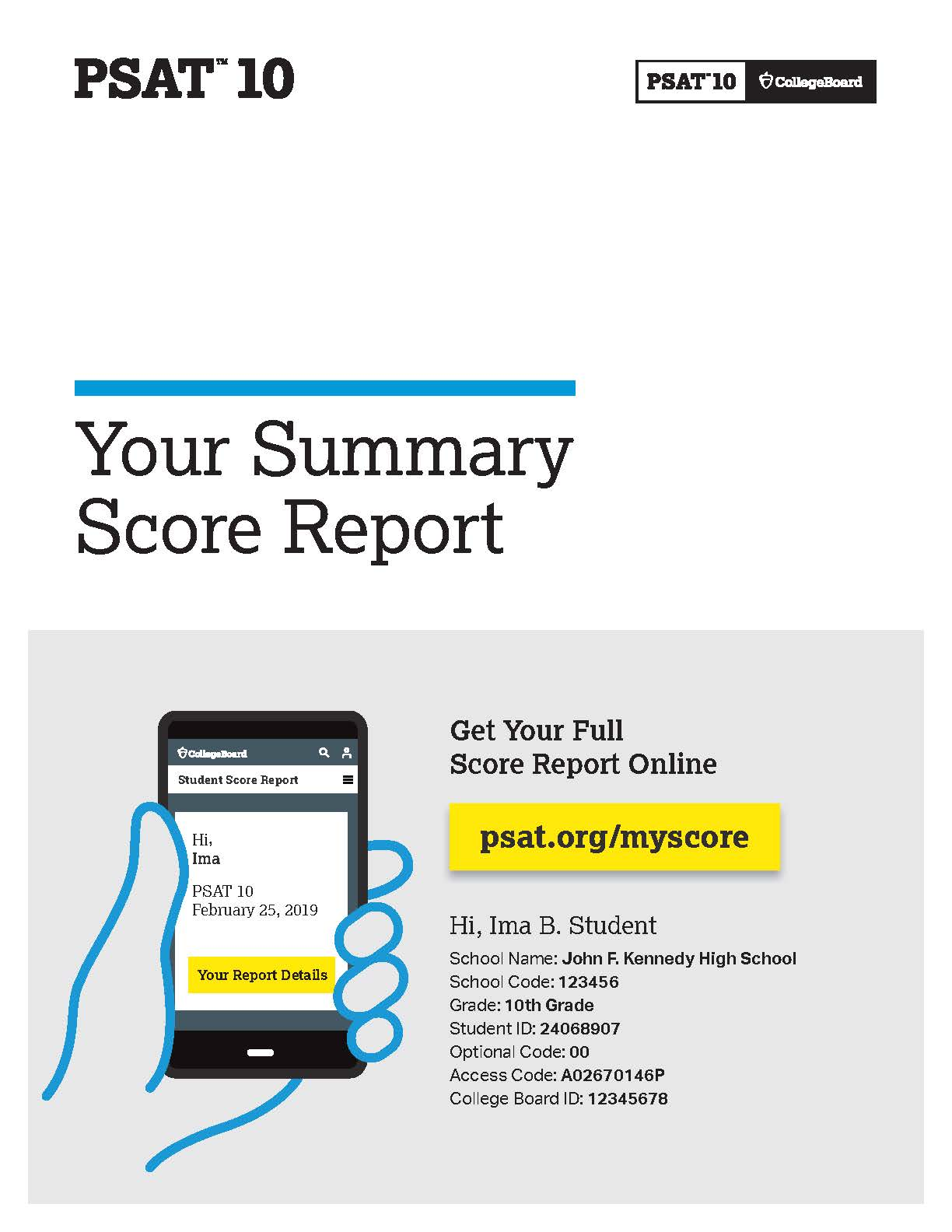 PSAT Score Report - first page